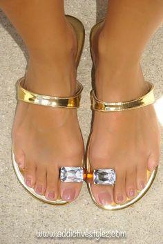 Liliana Metallic Gold Jewel Toe Sandal  #Liliana #FlipFlops
