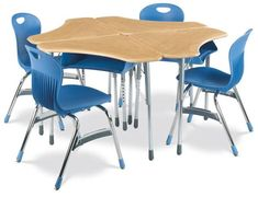 Virco ZBoom triangle desks with bookboxes in a range of great colors!