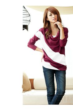 Loose sleeve t shirt stitching striped long-sleeved knitwear pullover for ladies Sizing: various sizes are available Item specifics  Sleeve:Long Sleeve Gender:Women Style:Outdoor Sport Style Material:Cotton Neckline:Round