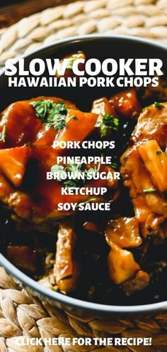 Jan 2020 - Slow Cooker Hawaiian Pork Chops - These Hawaiian Pork Chops are a Sweet & Tangy quick weeknight meal that tastes like steakhouse quality, but made right in the slow cooker for ease! Healthy Crockpot Recipes, Slow Cooker Recipes, Cooking Recipes, Hawaiian Pork Chops, Pineapple Pork Chops, Slow Cooker Pork, Crockpot Meals Pork Chops, Slow Cook Pork Chops, Pressure Cooker Pork Chops