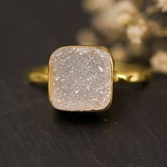 Cushion cut Druzy Ring