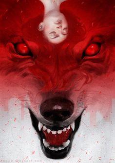 goth art, woman wolf