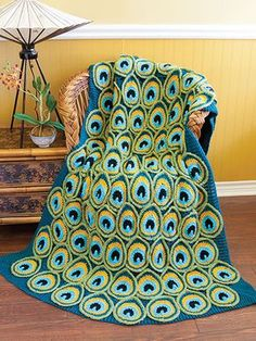 Crochet Peacock Afghan Blanket find free patterns in our post