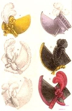 1817   Glorious Hats. Various hats including yellow velour, brown with yellow trim, brown with rosepink plume and trim, and lavender velour with pleated trim.                                          Fashion Plate via Costume Parisienne. suzilove.com