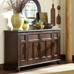 Store your extra dinnerware, flatware, and table linens in a buffet table or sideboard. Shop our great selection of stylish buffet tables and sideboards. Dining Room Buffet, Dining Furniture, Furniture Decor, Furniture Design, Design Living Room, Dining Room Design, Sideboard Decor, Diy Home Decor, Room Decor
