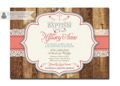 Rustic Baptism Invitation Lace Wood Christening Invite Baby Girl Typography Christian Cross DIY Digital or Printed - Hillary Collection. $23.00, via Etsy.