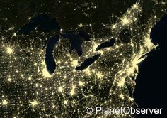 U.S. northeast coast at night, from Minneapolis to NYC.