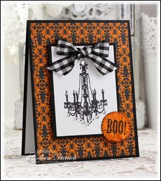Dietrich Designs - an elegant Halloween card, using a chandelier from Inkadinkado, black and white gingham bow, patterned paper from Stampin' Up!, and a 'Boo' sentiment from Autumn Apparitions / SU. Fall Cards, Holiday Cards, Christmas Cards, Scrapbooking, Scrapbook Cards, Halloween Paper Crafts, Handmade Halloween Cards, Halloween Ideas, Beautiful Handmade Cards