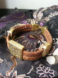 Cork bracelet golden square flower plates  #TravelDazzle www.TravelDazzle.co.uk