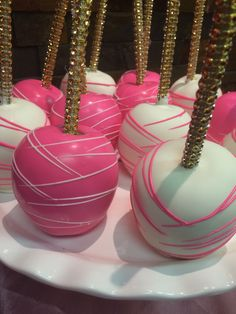 Pink and White chocolate covered apples                              …