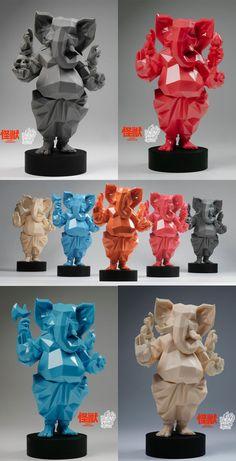 Clay Ganesha, Ganesha Painting, Ganesha Art, Modern Sculpture, Lion Sculpture, Ganesh Lord, Polygon Art, Toy Art, Vinyl Toys