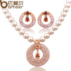 BAMOER Luxury Anniversary Pearl Jewelry Sets For Women Champagne Gold Plated Zircon Crystal Necklace + Earrings