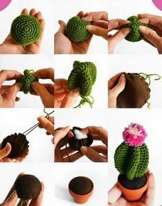Cactus - Tutorial ❥ // looks really simple, a great holiday gift!Amigurumi Cactus - Tutorial ❥ // looks really simple, a great holiday gift! Crochet Diy, Cactus En Crochet, Crochet Amigurumi, Love Crochet, Crochet Gifts, Amigurumi Patterns, Crochet Dolls, Crochet Flowers, Crochet Patterns