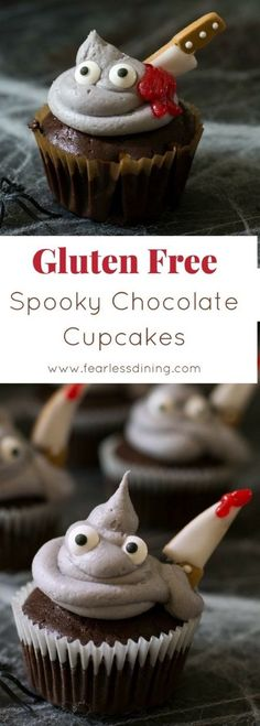 Spooky gluten free chocolate cupcakes are perfect for a Halloween party. Monster cupcakes. How to make gluten free chocolate cupcakes. #Halloween #cupcakes #glutenfree #chocolate