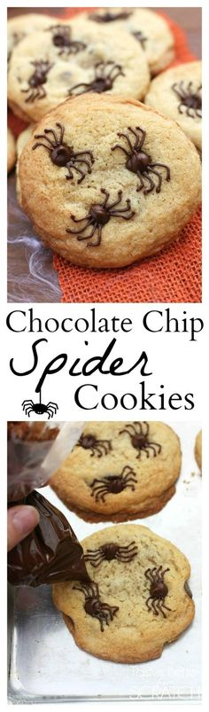 Pin for Later: halloween food recipes. Chocolate Chip Spider Cookies make the perfect fun and easy Halloween treat! Bolo Halloween, Postres Halloween, Dessert Halloween, Halloween Baking, Halloween Goodies, Halloween Food For Party, Holiday Baking, Creepy Halloween, Halloween Chocolate