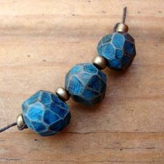 Handmade Polymer Clay Beads by Barbara Bechtel @Barbara Bechtel: Stone Wash Blue Carved - small set of 3