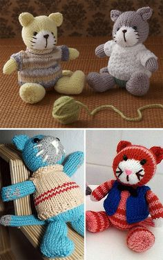 Free Knitting Pattern for Cat in Jumper - Cat amigurumi softie in pullover sweat. Free Knitting Pattern for Cat in Jumper - Cat amigurumi softie in pullover sweater. 2 different clothing options. Double Knitting, Loom Knitting, Free Knitting, Baby Knitting, Knitting Toys, Knitted Cat, Knitted Animals, Knitted Dolls, Animal Knitting Patterns