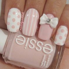 Too cute!!!!! #nailart #nail #nails #nail #art #pinknails #vintage #couture #pretty #glam #expensive #beautifulhands #glitter #sparkles #stripes #polkadots #nailsdone #manicure #nailpolish #nailedit #essie