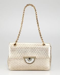 This  bag is breathtaking in person--the photo doesn't do it justice! Metallic lizard--  neutral color goes with everything.  Art-deco clasp is gorgeous.  Zoom in on the details....I am officially obsessed! Zahara Optic Shoulder Bag by Judith Leiber at Neiman Marcus.