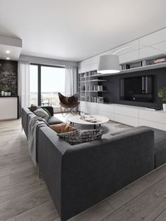 Living moderno - open space in bianco e nero