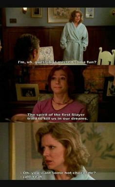 Buffy the Vampire Slayer. Poor Joyce has just learned not to ask questions. Buffy The Vampire Slayer Funny, Spike Buffy, Buffy Summers, Sarah Michelle Gellar, Joss Whedon, First Girl, Best Shows Ever, Best Tv, Favorite Tv Shows