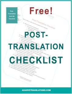 Keep track of the completeness and quality of your translation project once it has been returned to you. Free for you here: http://eepurl.com/cHar99