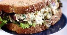 tuna salad with dijon and cilantro, on whole grain bread. great for mid-morning and/or mid-afternoon snack. you won't be able to eat it just once. Tuna Fish Sandwich, Tuna Fish Salad, Best Tuna Salad, Salad Sandwich, Sandwich Recipes, Bread Recipes, Tuna Recipes, Yogurt Recipes, Easy Recipes
