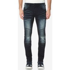 Buffalo David Bitton Men's Max-x Skinny-Fit Stretch Moto Jeans ($74) ❤ liked on Polyvore featuring men's fashion, men's clothing, men's jeans, indigo, mens skinny jeans, mens skinny fit jeans, mens skinny biker jeans, mens biker jeans and mens stretchy jeans