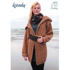 Wendy Ladies Cable Edge Jacket Chunky Yarn Long Cardigan Knitting Pattern 5692