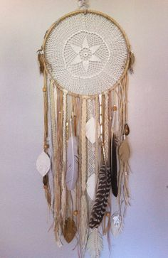 Gorgeous Large White DreamCatcher vintage lace by CosmicAmerican