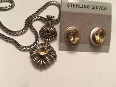 Vintage Sterling Silver Citrine Scroll Pendant Necklace Earrings  Antique Finish  | eBay