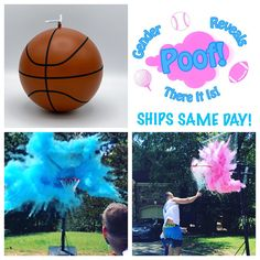 Basketball Gender Reveal Ball Filled w/ Pink or Blue Powder and or Confetti! Gender Reveal Basketball Pair w/ Powder & Confetti Cannons Baby Gender Reveal Party, Gender Party, Basketball Gender Reveal, Colorful Clouds, Digital Invitations, Reveal Parties, Future Baby, Just In Case, Cool Pictures