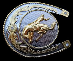BIG LUCKY HORSESHOE HORSE RIDER RODEO WESTERN COOL BELT BUCKLE BELTS BUCKLES