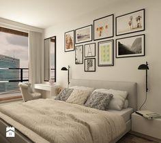 Średnia sypialnia małżeńska z balkonem / tarasem, styl skandynawski - zdjęcie od design me too