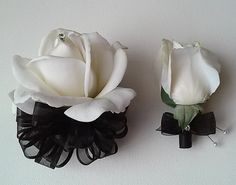 Black and White Corsage and Boutonniere Set-Wedding