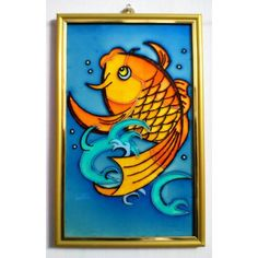 A Golden Fish in Glass Painting