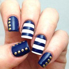 59 Pictures of Blue Nail Art Designs 2019 - Nails C Navy Nails, Striped Nails, Aztec Nails, Chevron Nails, Get Nails, Hair And Nails, Gorgeous Nails, Pretty Nails, Sailor Nails