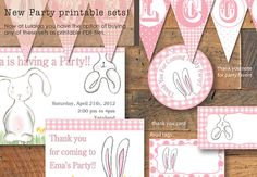 Bunny party theme , Shower party, Birthday decorations, New baby party, DIY printable PDF ,