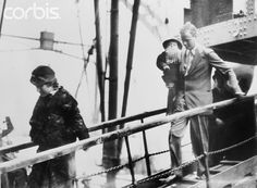 Charles Lindbergh and Family Disembarking from Ship corbis