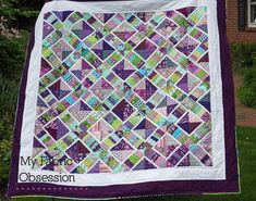 """X String Block ~ scrap buster quilt, a bit much purple for me but I love the """"outline"""" effect using white trim 