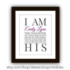 I am the Daughter of a King Printable, Christian Printable, Nursery Print