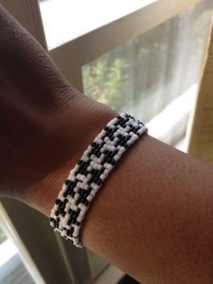 Black and White Houndstooth Bead Loom Bracelet by GlennandThem, $12.00