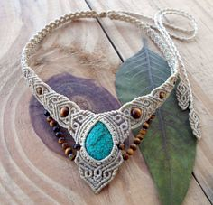 Turquoise macrame necklace, macrame stone, turquoise cabochon, micro macrame, healing jewelry, micromacrame jewelry, fairy necklace