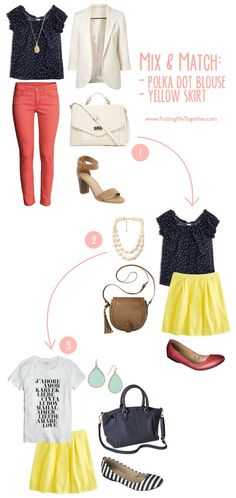 Mix and Match: Navy Polka Dot Top and Yellow Skirt