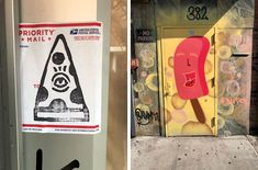 Anthropomorphic food street art: a slice of pepperoni pizza with an eyeball in the middle, and a popsicle with a big grin, both seen in NYC
