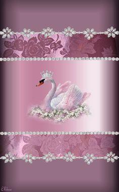 By Artist Unknown. Swan Wallpaper, Diamond Wallpaper, Bling Wallpaper, Fall Wallpaper, Animal Wallpaper, Flower Wallpaper, Pattern Wallpaper, Flower Backgrounds, Wallpaper Backgrounds