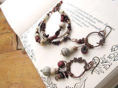 Elégance Automnale ....: Une sublime parure bracelet 3 rangs et boucles d'oreille boho, tribale, ethnique et chic !!!!! : Parure par les-reves-de-minsy