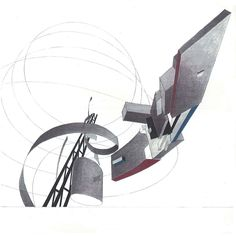 Zaha Hadid, painting depicting the unrealized proposals Tatlin Tower and Bent Tektonik in the rotunda. Acrylic, pencil and watercolor on cream cardstock. 298 x 298 mm. Image: Courtesy Zaha Hadid Architects