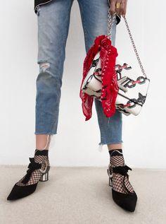 bandana + Louis Vuitton bag + Proenza Schouler shoes