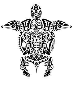 Maori animal design, with turtle, dolphins, manta ray, lizards and tiki mask.